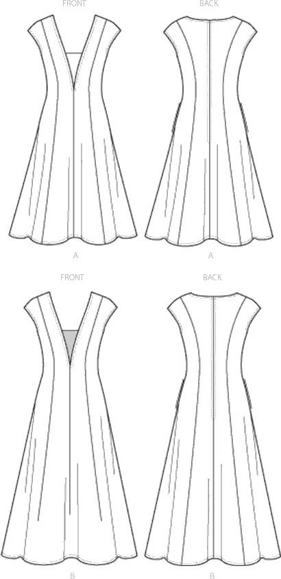 Vogue Pattern V9292 Misses Dress and Dickie 9292 Line Art From Patternsandplains.com