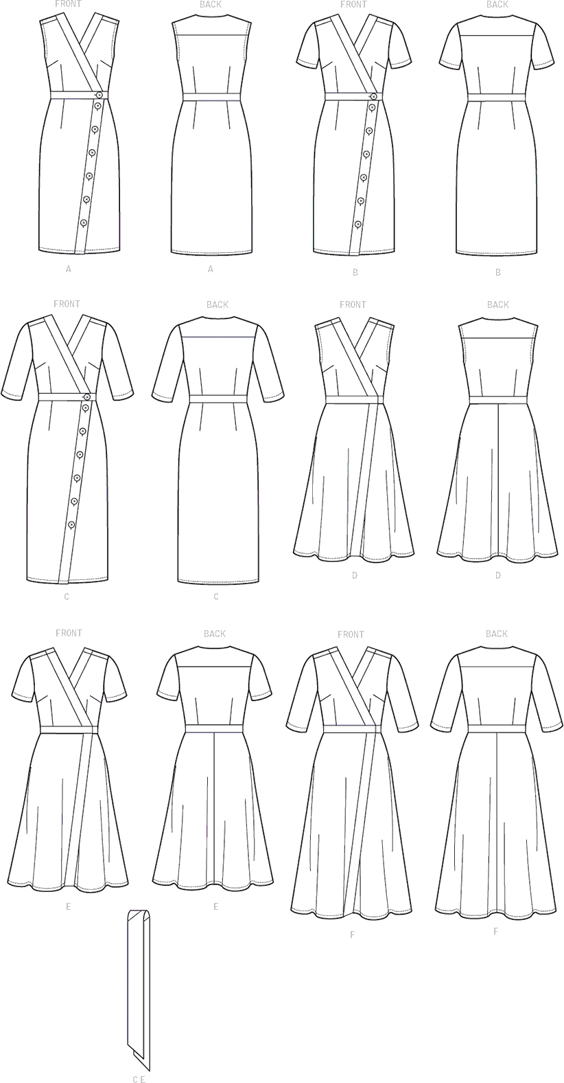 Vogue Pattern V9313 Misses Dress and Sash 9313 Line Art From Patternsandplains.com