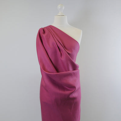 Derry Raspberry Dark Pink 100% Pure Linen Woven Fabric Mannequin Wide Image from Patternsandplains.com