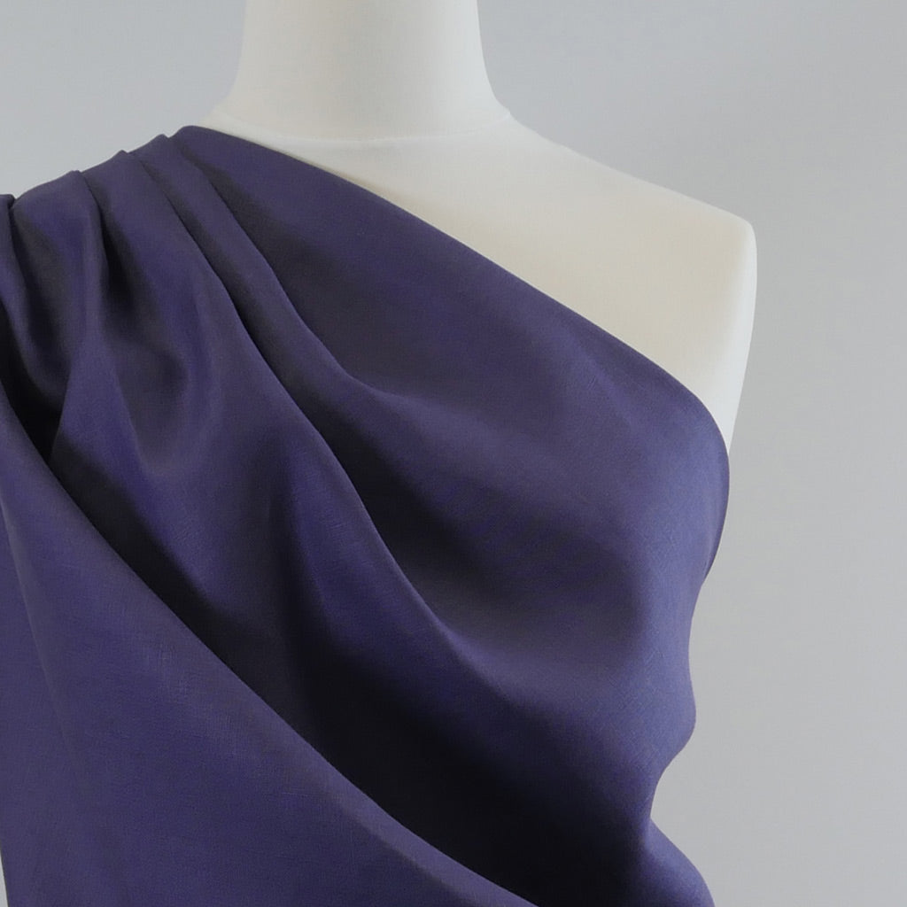 Antrim Darkest Purple 100% Pure Linen Woven Fabric Mannequin Closeup Image from Patternsandplains.com