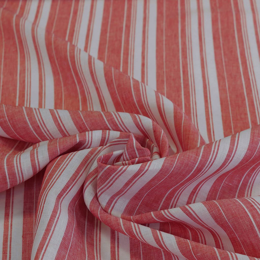 Antrim Vertical Stripe Fresh Strawberry Red White 100% Pure Linen Fabric Detail Swirl Image from Patternsandplains.com