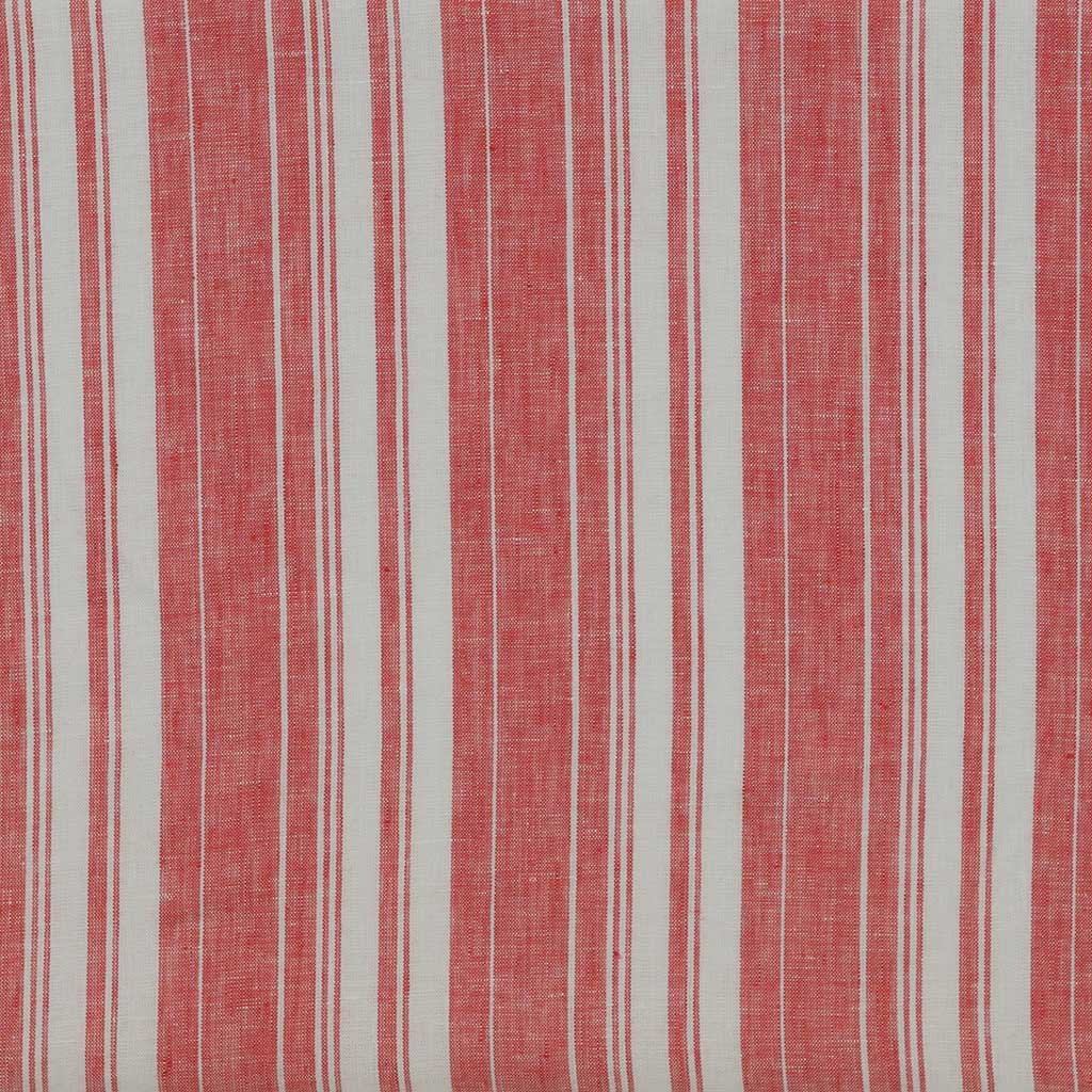 Antrim Vertical Stripe Fresh Strawberry Red White 100% Pure Linen Fabric Main Image from Patternsandplains.com
