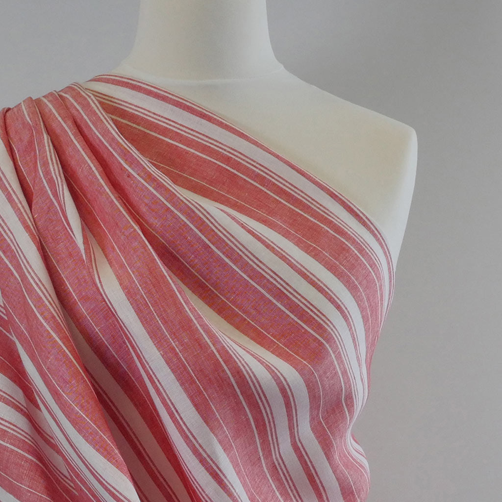 Antrim Vertical Stripe Fresh Strawberry Red White 100% Pure Linen Fabric Mannequin Closeup Image from Patternsandplains.com