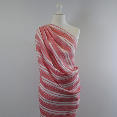 Antrim Vertical Stripe Fresh Strawberry Red White 100% Pure Linen Fabric Mannequin Wide Image from Patternsandplains.com