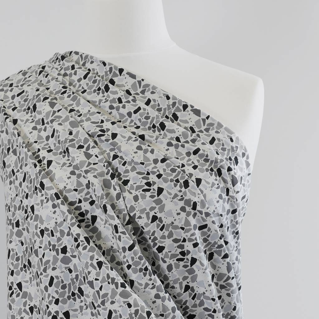 Arizona - Monochrome Rock Candy, Single Jersey Cotton Elastane Print Fabric Mannequin Closeup Image from Patternsandplains.com
