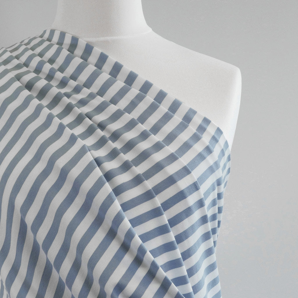 Avalon - Cloudy Blue and White Yarn Dyed Stripe, Single Jersey Cotton Elastane Fabric