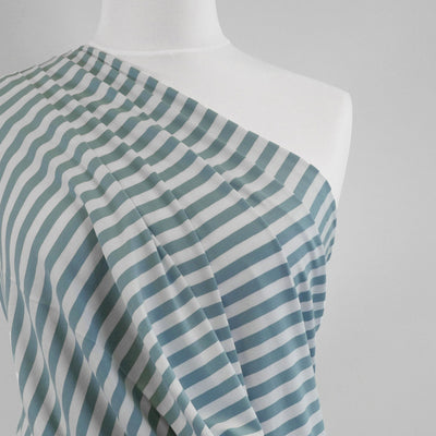 Avalon - Cloudy Green and White Yarn Dyed Stripe, Single Jersey Cotton Elastane Fabric Mannequin Close Up Image from Patternsandplains.com
