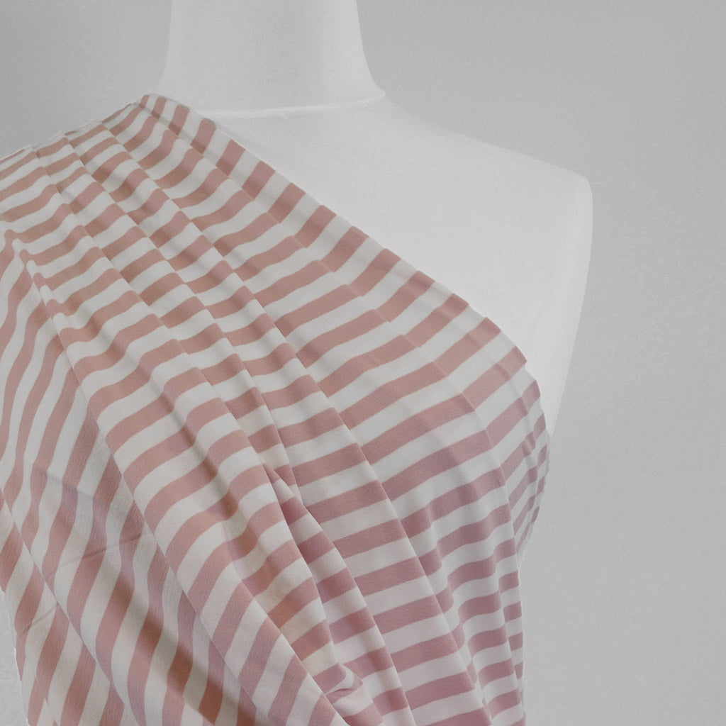 Avalon - Cloudy Pink and White Yarn Dyed Stripe, Single Jersey Cotton Elastane Fabric