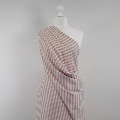 Avalon - Cloudy Pink and White Yarn Dyed Stripe, Single Jersey Cotton Elastane Fabric Mannequin Wide Image from Patternsandplains.com