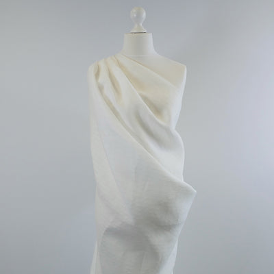 Balla Stripe White Shadow 100% Pure Linen Woven Fabric Mannequin Wide Image from Patternsandplains.com