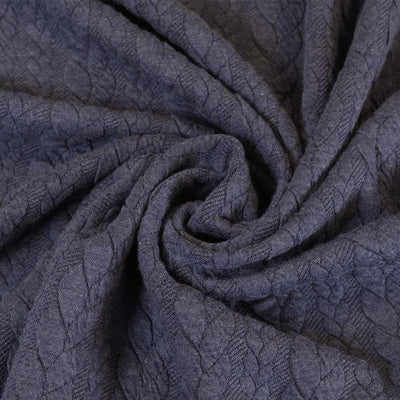 Bergen - Airforce Blue Aran Cables Double Jersey Blister Fabric Detail Swirl Image from Patternsandplains.com