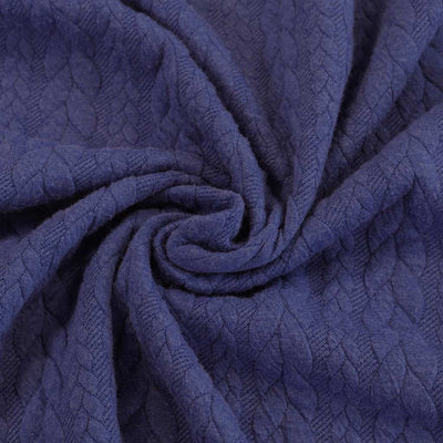 Bergen - Lazuli Blue Aran Cables Double Jersey Blister Fabric Detail Swirl Image from Patternsandplains.com