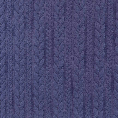 Bergen - Lazuli Blue Aran Cables Double Jersey Blister Fabric Main Image from Patternsandplains.com