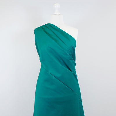 Bermuda - Sea Green Stretch Cotton Woven Twill Fabric Mannequin Wide Image from Patternsandplains.com