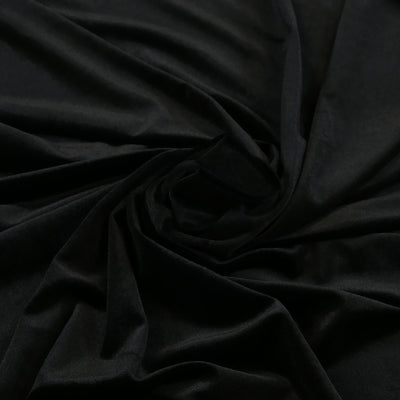 Carlotta Black Stretch Panne Velvet Jersey Fabric from John Kaldor Detail Swirl Image from Patternsandplains.com