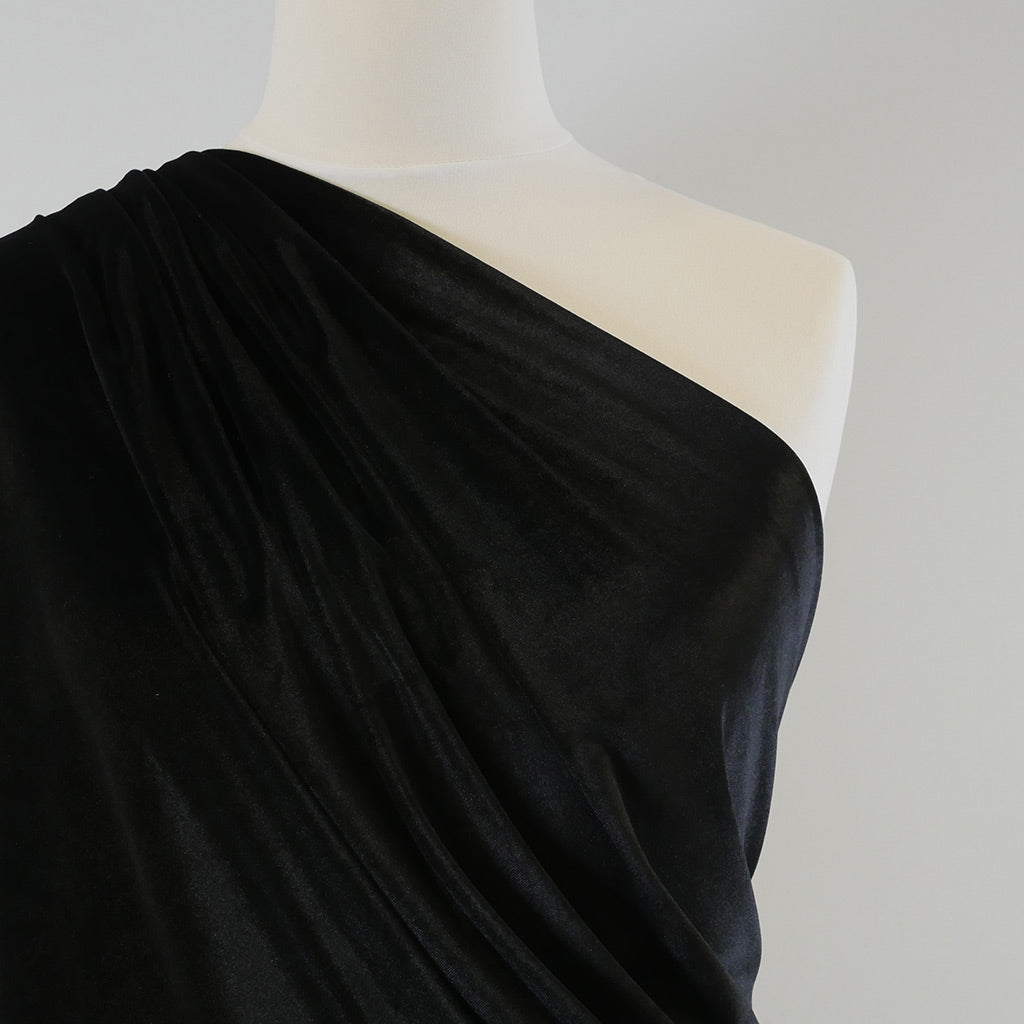 Carlotta Black Stretch Panne Velvet Jersey Fabric from John Kaldor Mannequin Closeup Image from Patternsandplains.com