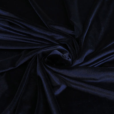 Carlotta Navy Stretch Panne Velvet Jersey Fabric from John Kaldor Detail Swirl Image from Patternsandplains.com