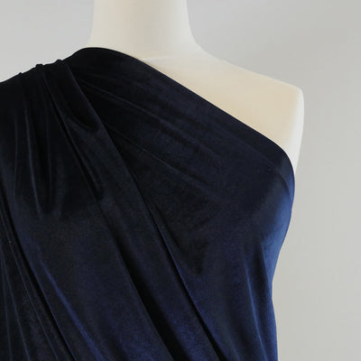Carlotta Navy Stretch Panne Velvet Jersey Fabric from John Kaldor Mannequin Closeup Image from Patternsandplains.com