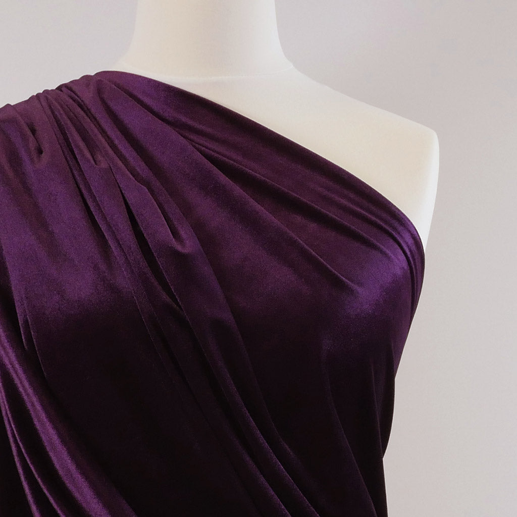 Carlotta Purple Stretch Panne Velvet Jersey Fabric from John Kaldor