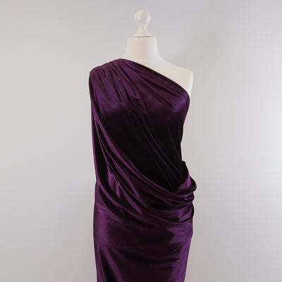 Carlotta Purple Stretch Panne Velvet Jersey Fabric from John Kaldor Mannequin Wide Image from Patternsandplains.com