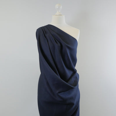 Clare Midnight Navy 100% Pure Linen Woven Fabric Mannequin Wide Image from Patternsandplains.com