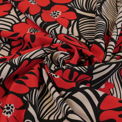 Coral Crepe 278698 Cherry Red Stretch Woven Fabric from John Kaldor Detail Swirl Image from Patternsandplains.com