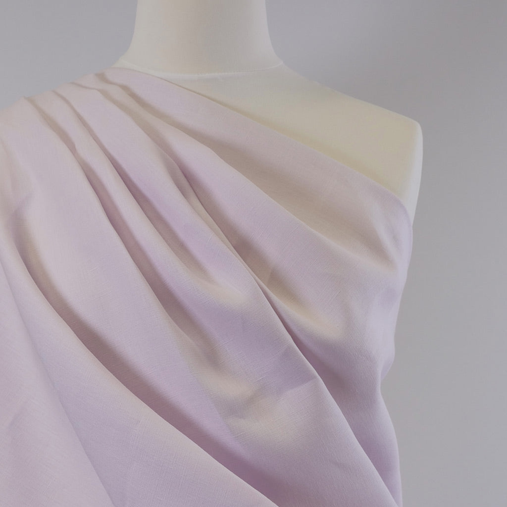 Creggan Light Lilac Pure 100% Linen Woven Fabric Mannequin Closeup Image from Patternsandplains.com