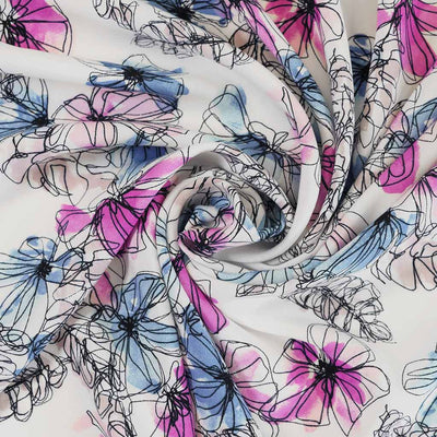 Elbe - Blues and Pinks, Pen Floral Viscose Lightweight Woven Fabric Detail Swirl Image from Patternsandplains.com