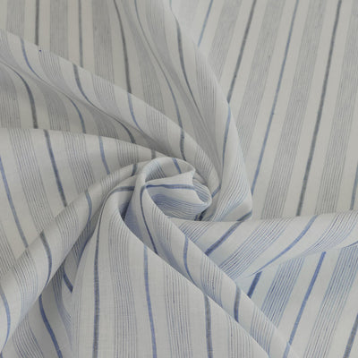 Eskra Saturday Stripes Blue 100% Linen Woven Fabric Detail Swirl Image from Patternsandplains.com