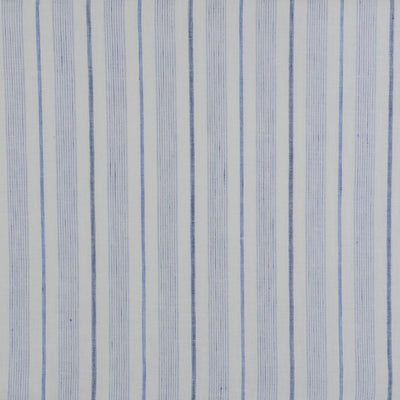 Eskra Saturday Stripes Blue 100% Linen Woven Fabric Detail Image from Patternsandplains.com