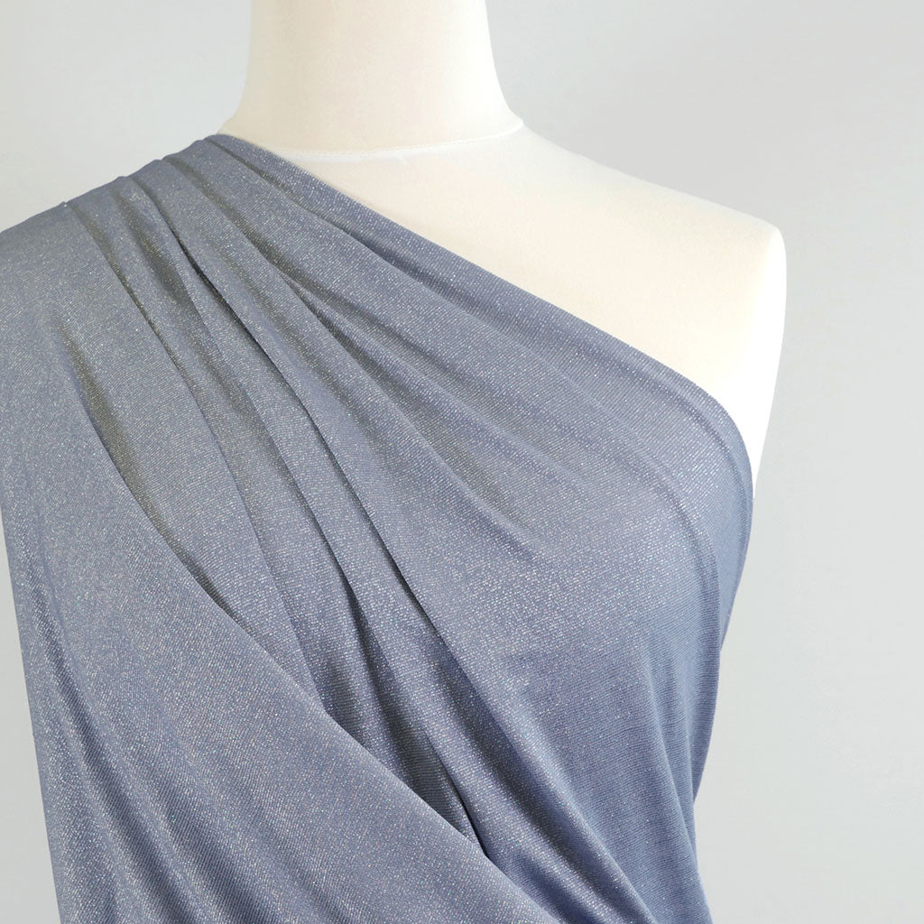 Fjord Silver Blue Viscose and Lurex Single Jersey Fabric Mannequin Closeup Image from Patternsandplains.com