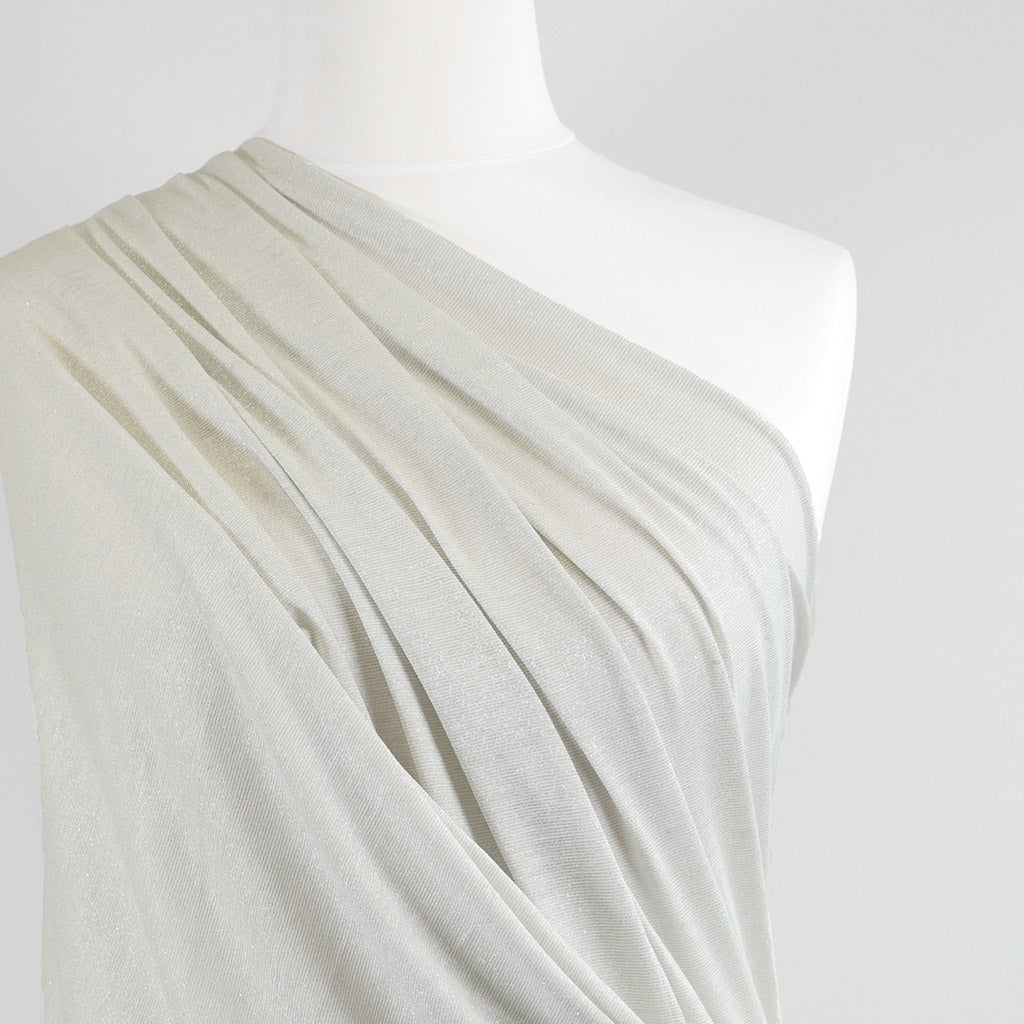 Fjord Silver Pearl Grey Viscose and Lurex Single Jersey Fabric Mannequin Closeup Image from Patternsandplains.com