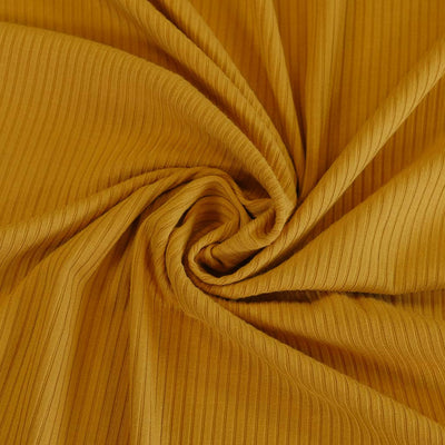 Fuji - Gold Bamboo and Elastane Rib Knit Fabric Detail Swirl Image from Patternsandplains.com