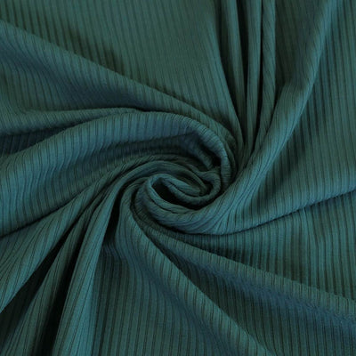 Fuji - Ocean Teal Bamboo and Elastane Rib Knit Fabric Detail Swirl Image from Patternsandplains.com