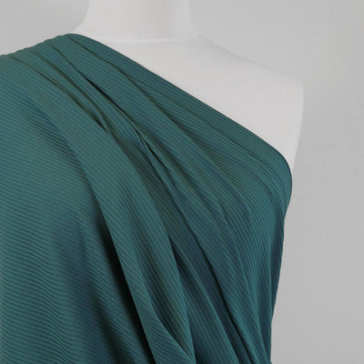 Fuji - Ocean Teal Bamboo and Elastane Rib Knit Fabric Mannequin Close Up Image from Patternsandplains.com
