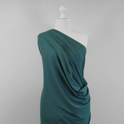 Fuji - Ocean Teal Bamboo and Elastane Rib Knit Fabric Mannequin Wide Image from Patternsandplains.com