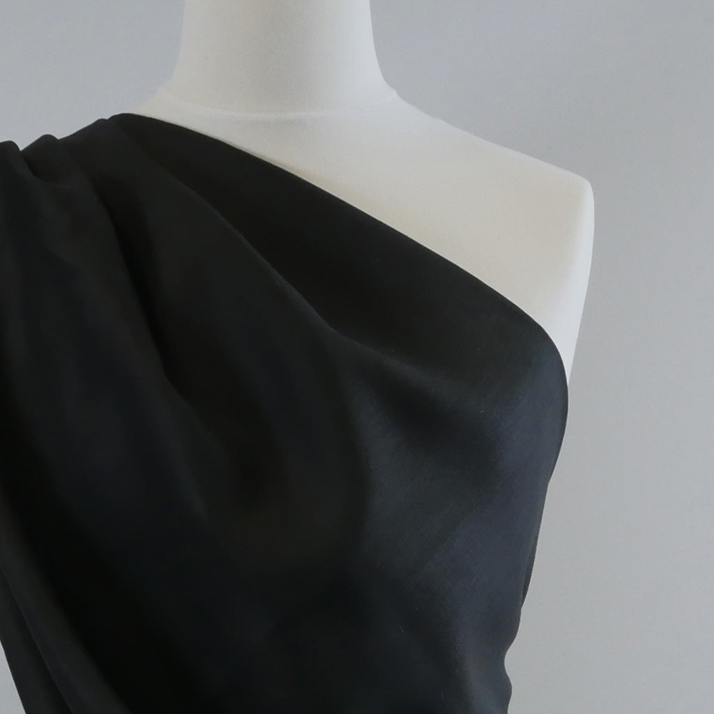 Galway Black 100% Pure Linen Woven Fabric Mannequin Closeup Image from Patternsandplains.com