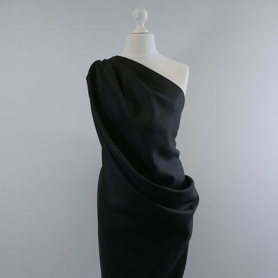 Galway Black 100% Pure Linen Woven Fabric Mannequin Wide Image from Patternsandplains.com