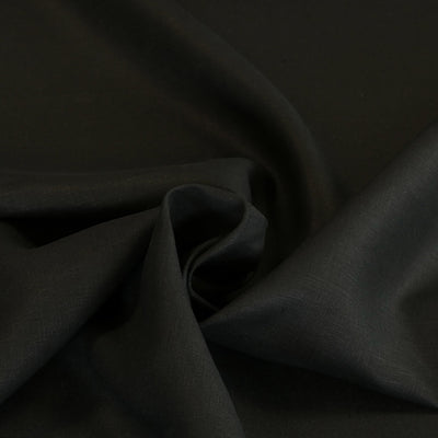Galway Black 100% Pure Linen Woven Fabric Swirl Detail Image from Patternsandplains.com