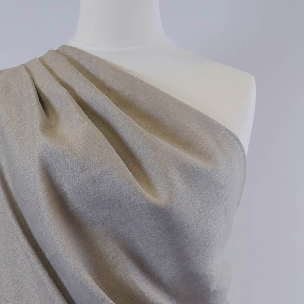 Galway Natural 100% Pure Linen Woven Fabric Mannequin Closeup Image from Patternsandplains.com