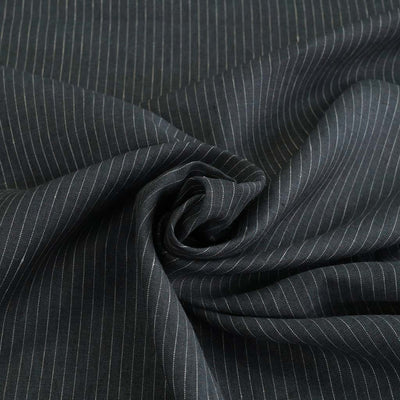 Larne Vertical Stripe Charcoal Grey Pure 100% Linen Fabric Detail Swirl Image from Patternsandplains.com