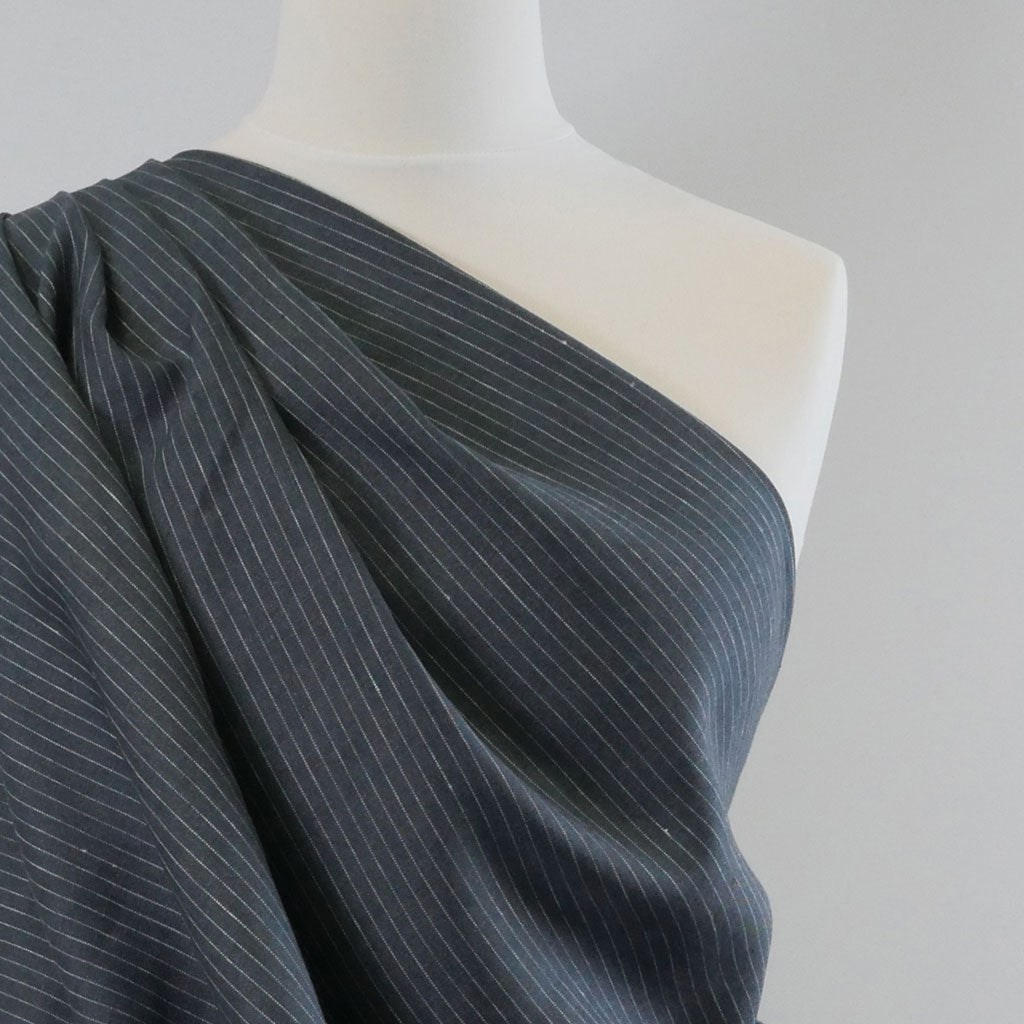 Larne Vertical Stripe Charcoal Grey Pure 100% Linen Fabric Mannequin Closeup Image from Patternsandplains.com