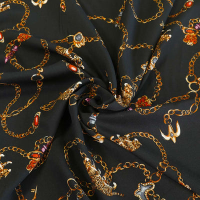 Linz Black Cats and Chains Viscose Woven Twill Fabric Detail Swirl Image from Patternsandplains.com