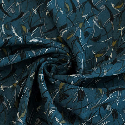 Linz- Petrol Blue Feather Elements Viscose Woven Twill Fabric Detail Swirl Image from Patternsandplains.com