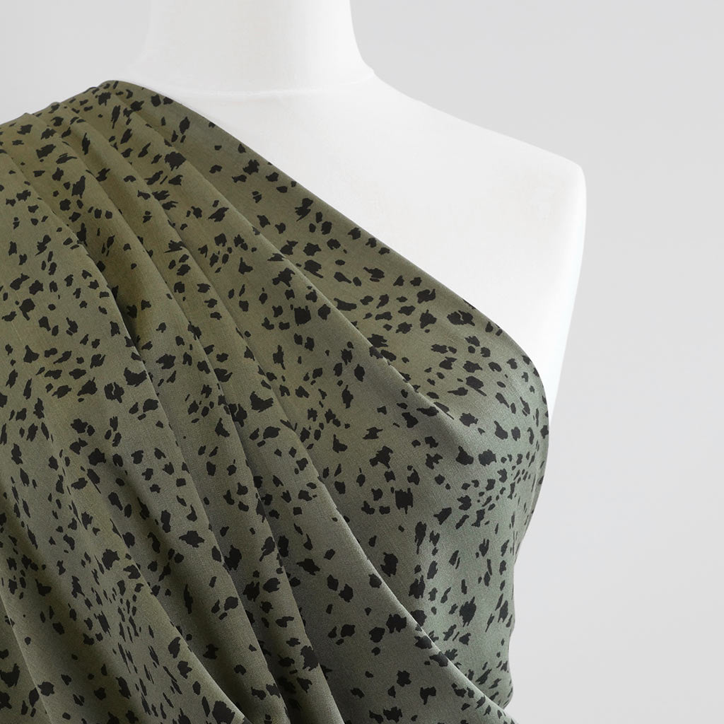 Linz- Sage Green Animal Elements Viscose Woven Twill Fabric