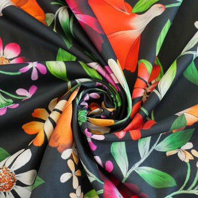Lizzano 5394 - Black Fine Floral Cotton Satin Fabric from John Kaldor Detail Swirl Image from Patternsandplains.com