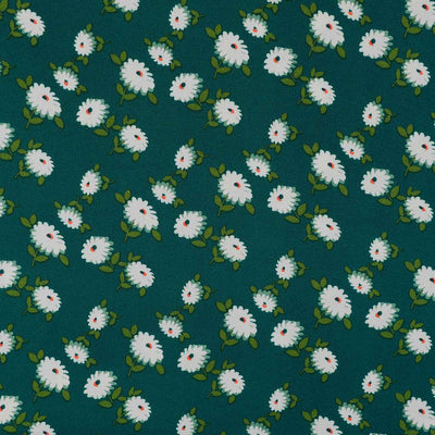Loire Green Double Daisies Viscose Crepe Fabric Main Image from Patternsandplains.com