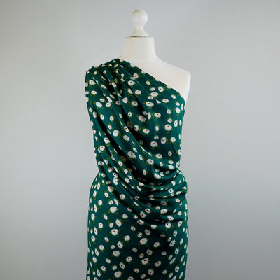 Loire Green Double Daisies Viscose Crepe Fabric Mannequin Wide Image from Patternsandplains.com