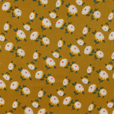 Loire Ochre Double Daisies Viscose Crepe Fabric Main Image from Patternsandplains.com