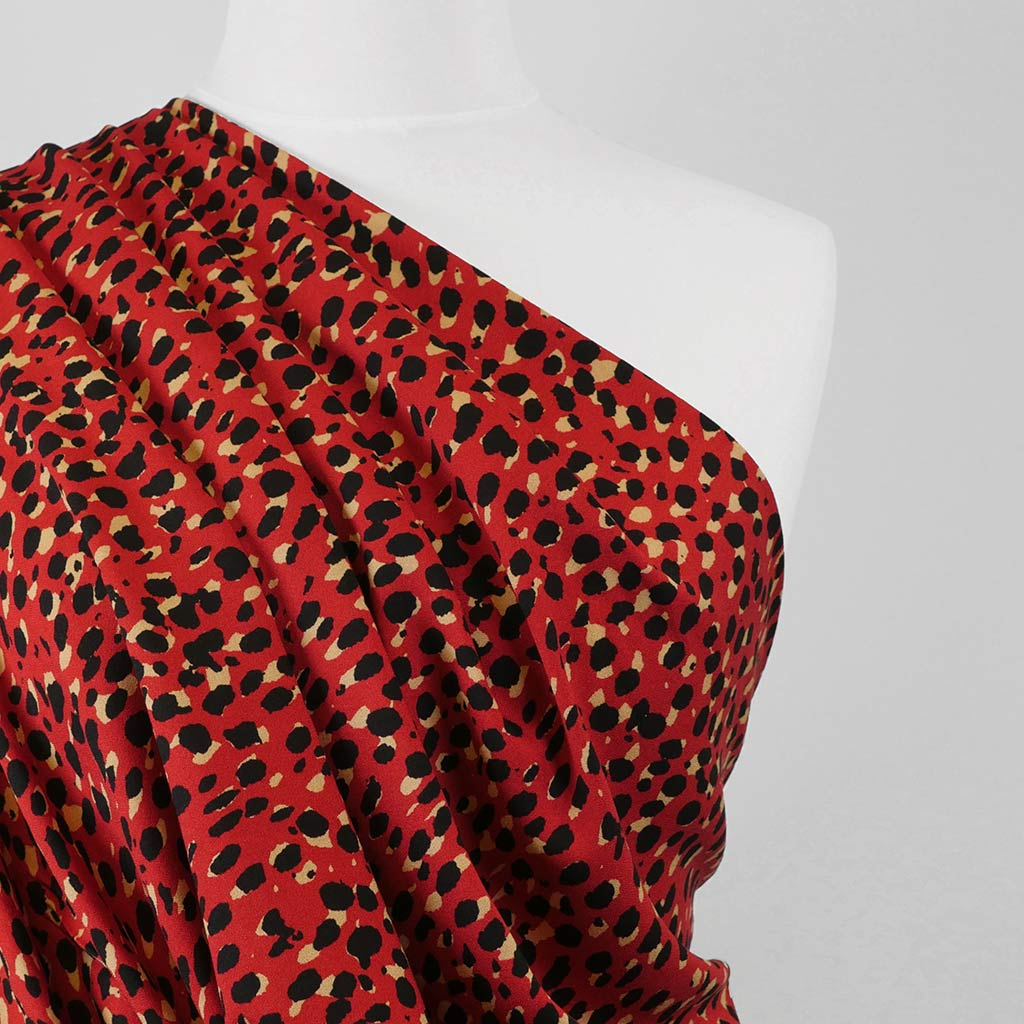 Loire - Red Double Spots Viscose Crepe Fabric